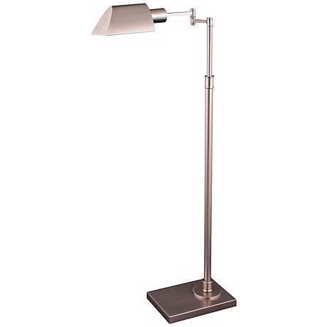 Orland Satin Nickel Adjustable Swing Arm Pharmacy Floor Lamp