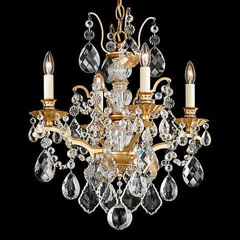 "Schonbek Bordeaux 17 1/2""W French Gold 4-Light Chandelier"