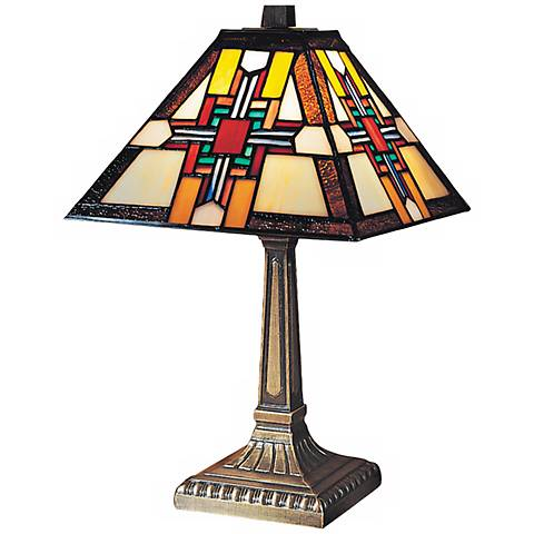 "Morning Star 15""H Antique Bronze Dale Tiffany Accent Lamp"