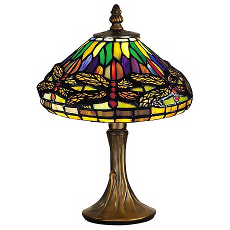 Dragonfly Antique Brass Dale Tiffany Accent Lamp V0836 Lamps Plus