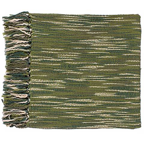 Surya Teegan Ivory and Green Throw Blanket