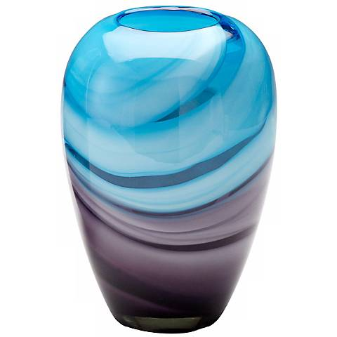 "Callie Turquoise and Purple 9 1/2"" High Glass Vase"