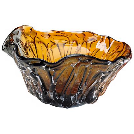 Duo Wave Amber and Smoke Colored Art Glass Bowl