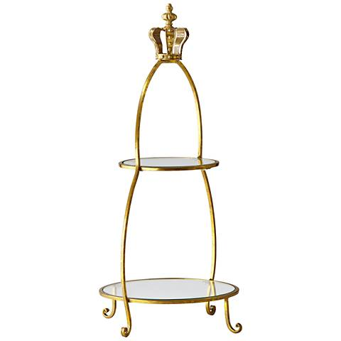 """Cyan Design Crowned Gold and Glass 30"""" High Two-Tier Stand"""