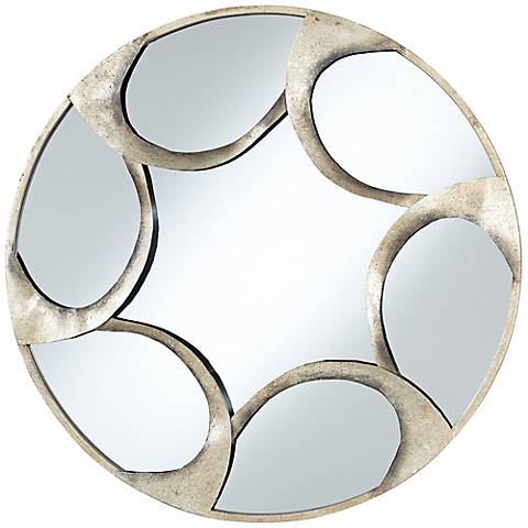 "Vento Antique Silver Finish 30"" Wide Round Wall Mirror"