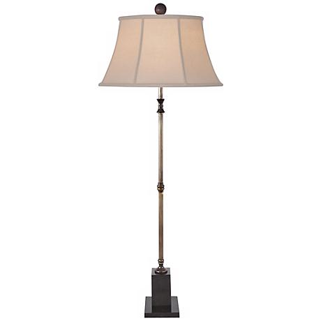 Brown Jade and Brass Floor Lamp