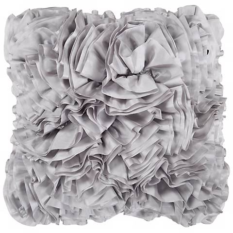 "Surya 18"" Square Flint Gray Ruffled Accent Pillow"