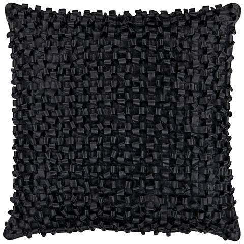 """Surya Looped 18"""" Square Caviar Black Throw Pillow"""
