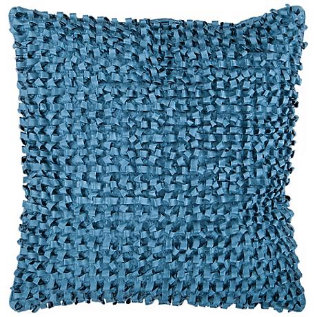 """Surya Looped 18"""" Square Pacific Blue Throw Pillow"""
