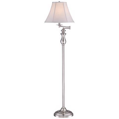 Quoizel Stockton Brushed Nickel Swing Arm Floor Lamp