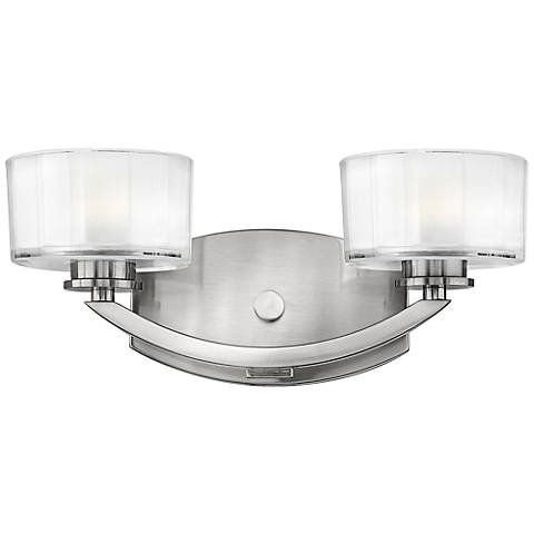 "Hinkley Meridian 14"" Wide Brushed Nickel Bathroom Light"