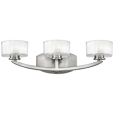 "Hinkley Meridian 21"" Wide Brushed Nickel Bathroom Light"