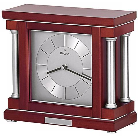 "Ambiance 10 1/4"" Wide Dark Wine Bulova Mantel Clock"