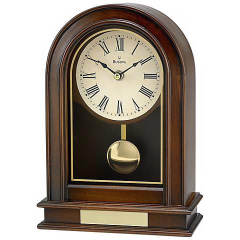 "Hardwick 10"" High Walnut Finish Bulova Table Clock"