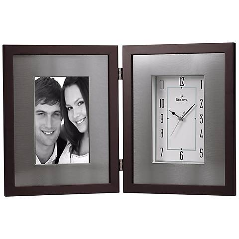 "Winfield 15"" Wide Picture Frame Bulova Desk Clock"