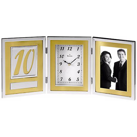 "Medallion 16 1/2"" Wide Anniversary Bulova Desk Clock"