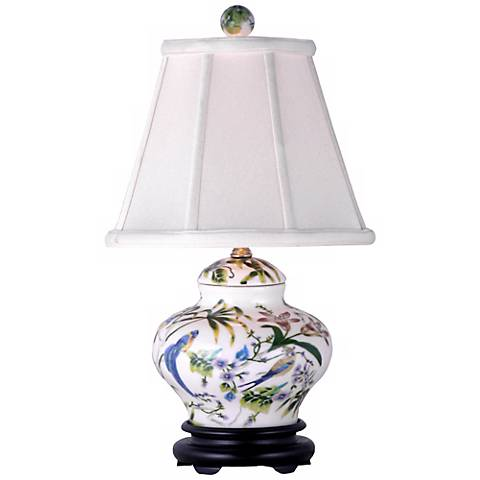 "Lily Covered 19"" High Porcelain Jar Accent Table Lamp"