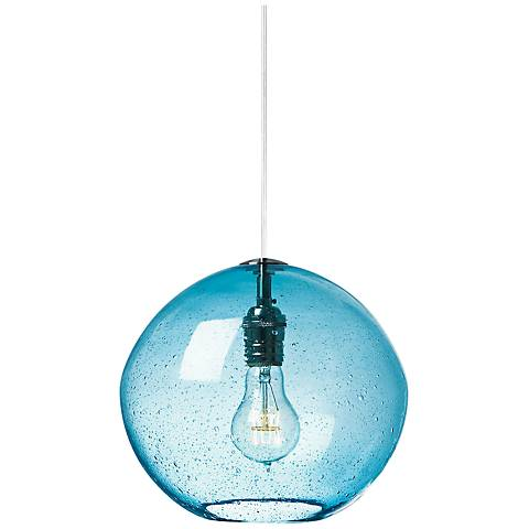 "LBL Isla 9 3/4""W Aqua Glass and Nickel Globe Mini Pendant"