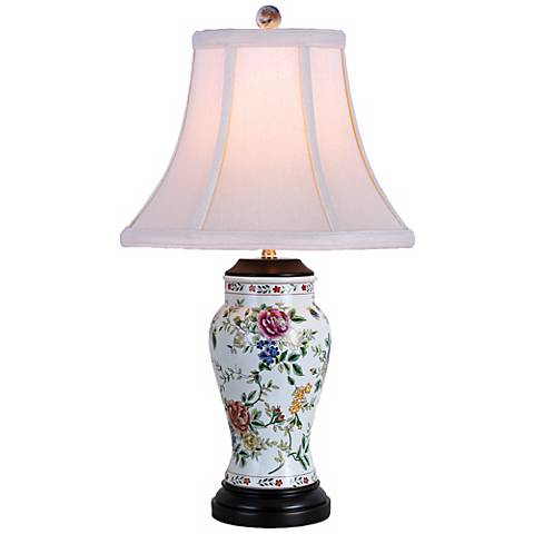 Rose and Floral Vase Porcelain Table Lamp