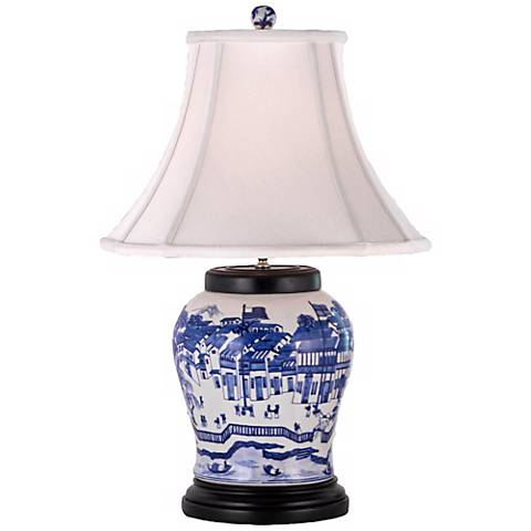Blue and White Hang Porcelain Wine UrnTable Lamp