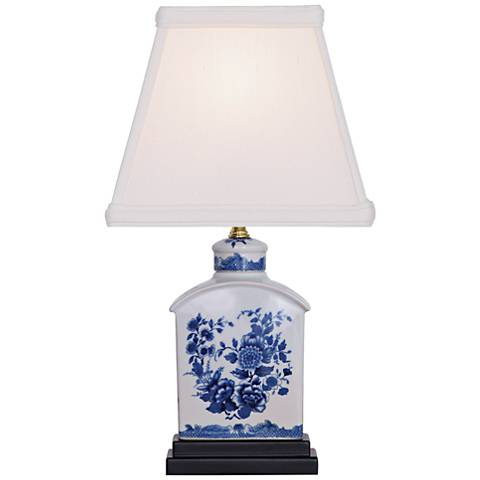 Floral Blue and White Mini Tea Jar Porcelain Table Lamp