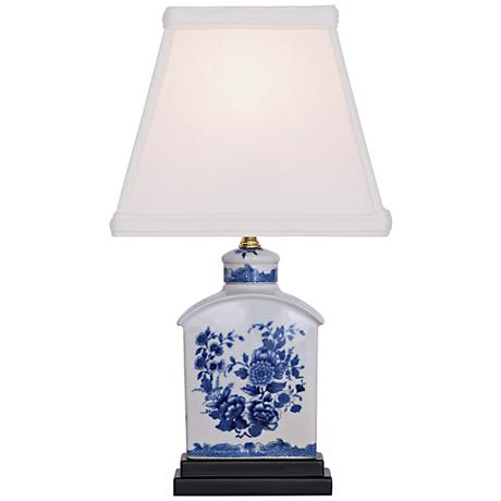 floral blue and white mini tea jar porcelain table lamp. Black Bedroom Furniture Sets. Home Design Ideas