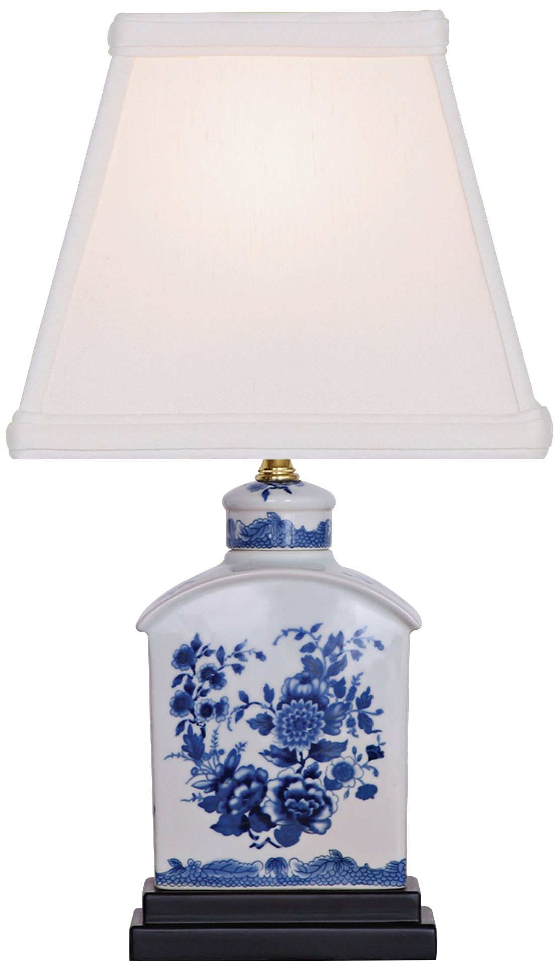 floral blue and white mini tea jar porcelain table lamp