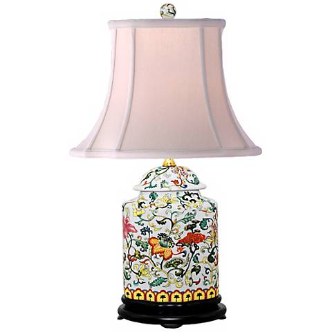 Scrolled Floral Jar Porcelain Table Lamp