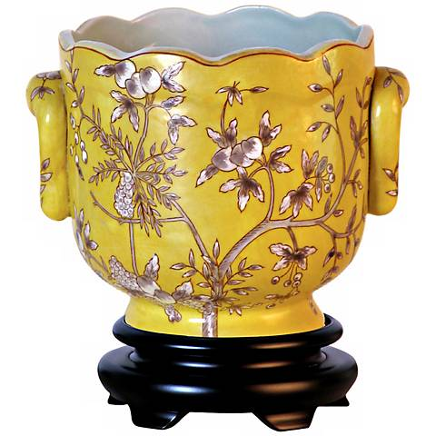 Yellow Floral Porcelain Cachepot