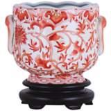 Coral Floral Porcelain Cachepot