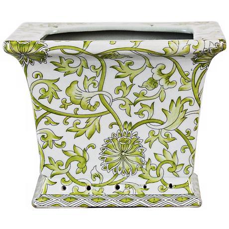 Lemon Floral Square Porcelain Cache Pot