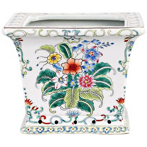 Famille Rose Square Porcelain Cachepot