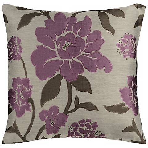 "Surya 18"" Square Gray and Grape Floral Throw Pillow"
