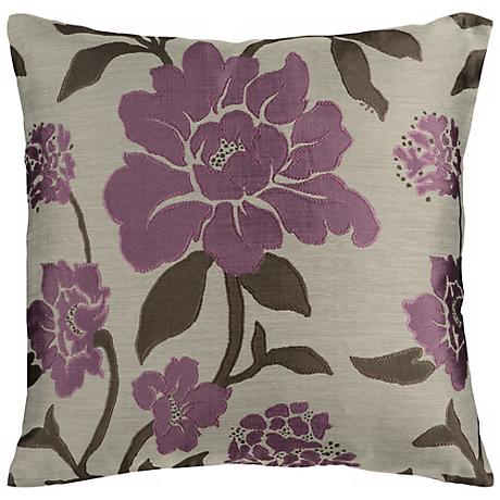 """Surya 18"""" Square Gray and Grape Floral Throw Pillow"""