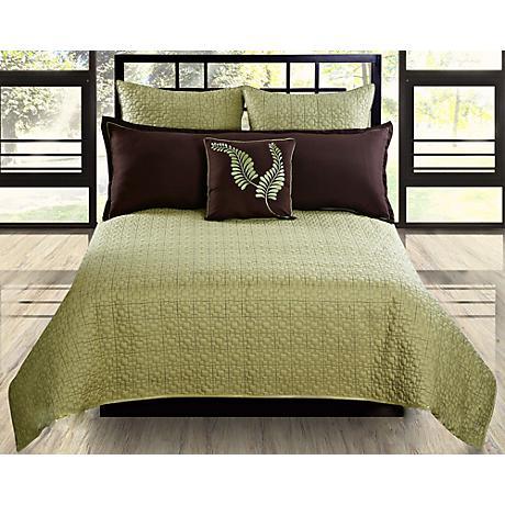 Matrix Sage and Brown 5-Piece Comforter Set