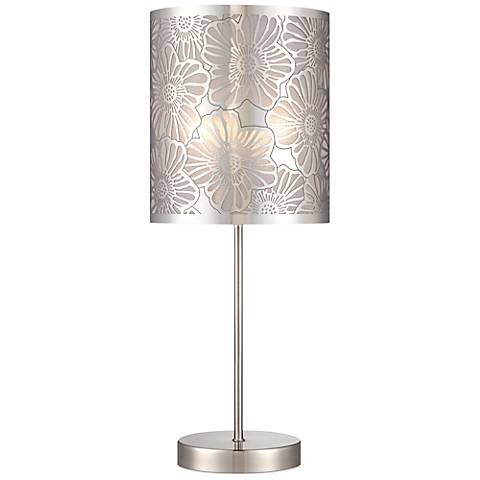 """Cut-Out Steel Flower Pattern 19 1/2"""" High Accent Table Lamp"""