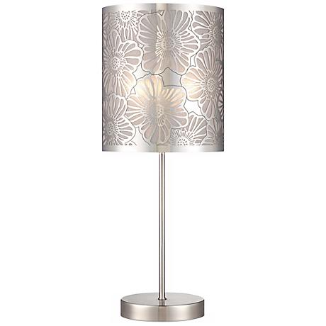 "Cut-Out Steel Flower Pattern 19 1/2"" High Accent Table Lamp"