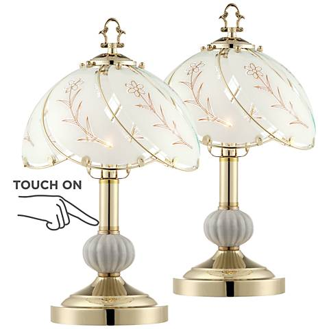 """Set of 2 Polished Brass 15""""H Touch On-Off Accent Table Lamps"""