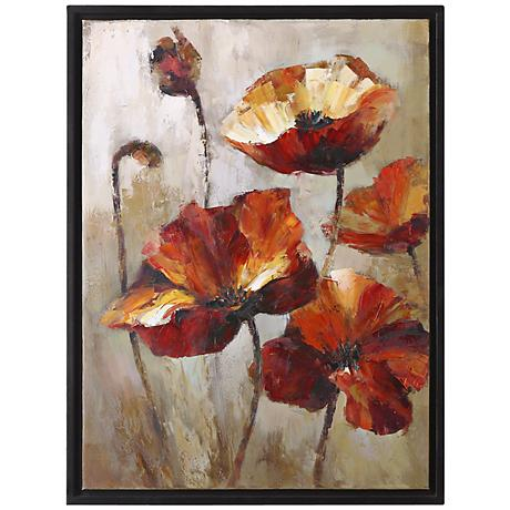 "Uttermost 39"" High Window View Poppies Floral Wall Art"