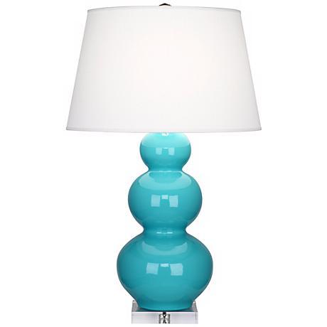 Robert Abbey Robin Egg Blue Triple Gourd Ceramic Buffet Lamp
