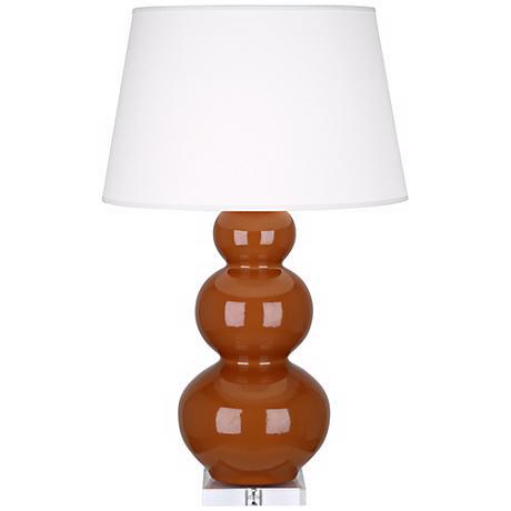 Robert Abbey Cinnamon Triple Gourd Ceramic Buffet Lamp
