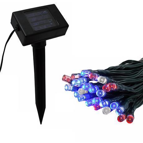 Solar Powered 50 Red, White and Blue LED String Lights