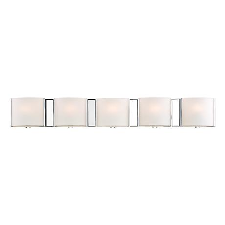 """Possini Euro 33 1/4"""" Wide Frosted Glass Band Bathroom Light"""