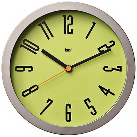 "Designer Studio Cyber 8"" Wide Chartreuse Modern Wall Clock"