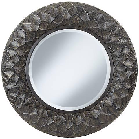 """Chuck Hammered 33"""" Round Metal Framed Mirror"""