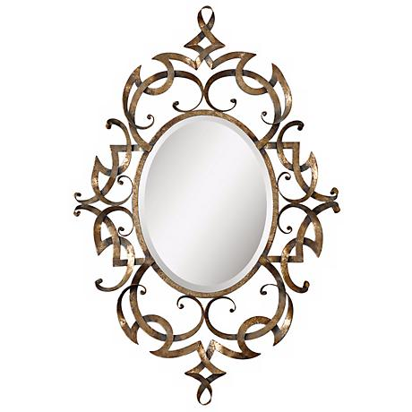 """Uttermost Ameno 45 1/2""""H Hand-Forged Metal Wall Mirror"""