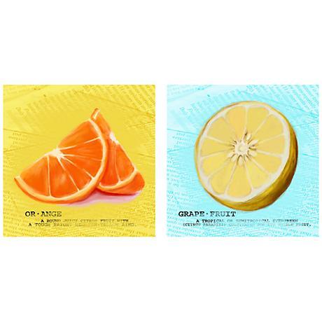 """Set of 2 Zesty Citrus 12"""" Square Kitchen Art Prints"""