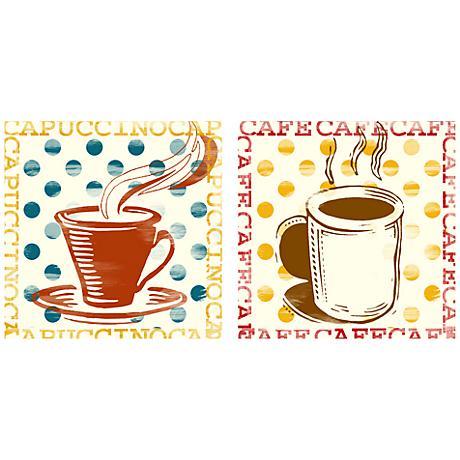 "Set of 2 Polka Dot Cafe 12"" Square Art Prints"