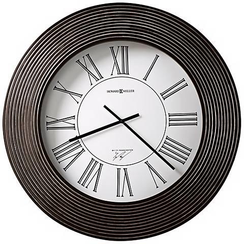 "Brown Ribbed 30"" Wide Howard Miller Wall Clock"