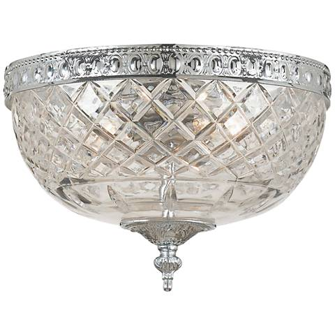 "Crystorama Bowl Lead Crystal 10""W Chrome Ceiling Light"